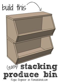 Easy building plan! Organize your produce with this stackable fruit and vegetable storage bin -- sized to fit in a pantry or on the countertop, single or stacking.