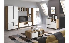 Mobila pentru sufragerie PEAB15,  Culoare: Ambarcațiune aur + alb Sideboard, Bed, Table, Furniture, Home Decor, Products, Tv Storage, Contemporary Design, Ad Home