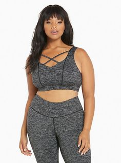 Torrid Active - Space Dye Strappy Front Sports Bra, plus sized workout clothes
