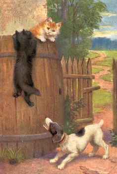 Dog Chasing Two Cats, 1907