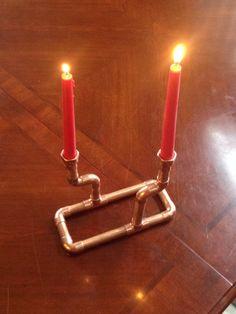 Copper pipe candle holder, candelabra, centerpiece, copper pipe, steampunk/ industrial art