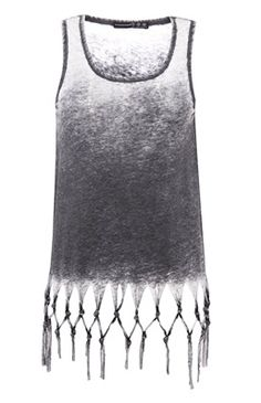 Great for summer Top con flequillo y estampado burnout #primark #value #clothes #summer #fashion #top #black #grey