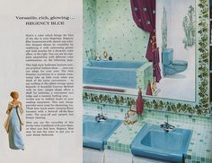 """Page 10 of """"New Fashion Ideas for Bathrooms"""" Vintage Space, Vintage Room, Vintage Kitchen, Vintage Bathrooms, Pink Bathrooms, Mid Century Bathroom, Blue Bath, Dream Bath, Time Capsule"""
