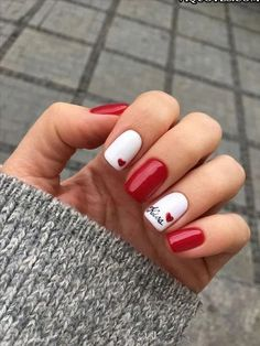 Trendy nails design red white manicures Eplore creative and beautiful nail art & nail designs to inspire your next manicure. Try these fashionable nail ideas and share them with us at Valentine's Day Nail Designs, Simple Nail Designs, Acrylic Nail Designs, Acrylic Nails, Coffin Nails, Pedicure Designs, Stiletto Nails, Nails Yellow, White Nails