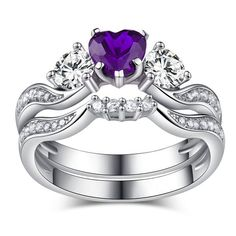 Heart Cut Three-Stone Amethyst with White Sidestone Rhodium Plated 925 Sterling Silver Women's Bridal Ring Set