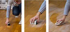 Pour renover un parquet vitrifié ou un sol stratifié commencer par égrener le sol avec du papier de verre grain 240 gr et dépoussiérer le parquet