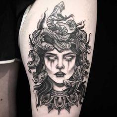 medusa tattoo Medusa from Amanda amandarinertattoo Medusa Tattoo Design, Tattoo Designs, Full Sleeve Tattoos, Sleeve Tattoos For Women, Tattoos For Guys, Tattoo Sleeves, Thigh Tattoos For Women, Irezumi Tattoos, Leg Tattoos
