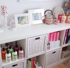 IKEA Kallax shelves and shelving units are the best canvas for creating! Kallax shelves are so universal that you can get almost anything from them . Chic Bathrooms, Girly Bedroom, Room Inspiration, Decor, Shabby Chic Living Room, Chic Living Room, Ikea Kallax Shelf, Shabby Chic Pillows, Shabby Chic Bathroom