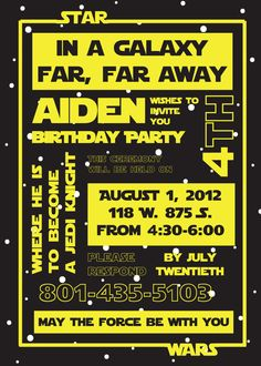 Star Wars Birthday Party Invitation by susieandme on Etsy, $3.00