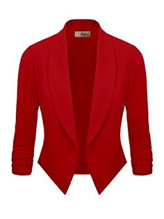 HyBrid Womens Casual Work Office Open Front Cardigan Blazer Jacket Made in USA (Red) - http://our-shopping-store.com/apparel-and-accessories.asp