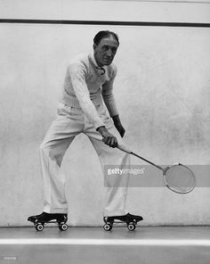 Squash player Charles Arnold playing on roller skates at the St Regis in Cork Street, London. Get premium, high resolution news photos at Getty Images Boogie Wonderland, Roller Skating, The St, Squash, Things That Bounce, Ice, Sports, Logo Ideas, Skates
