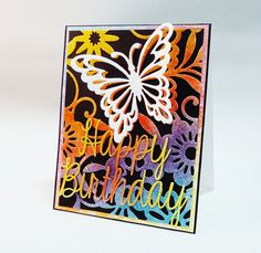 Happy Birthday Card - Scrapbook.com - Use Ranger Distress markers to color a rainbow effect on a die cut card front.