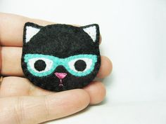 Nerdy Cat felt brooch made to order by hanaletters on Etsy