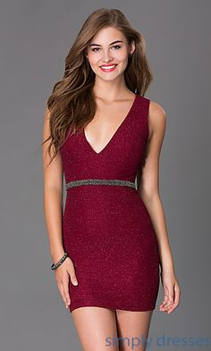 Shop for short dresses and cocktail dresses with v-necks at Simply Dresses. Burgundy red dresses, short prom dresses and v-neck wedding-guest dresses
