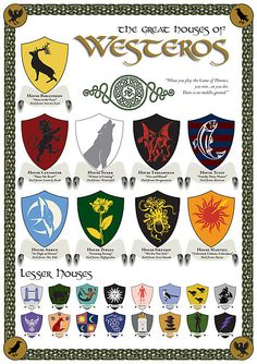 Family sigils of Game Of Thrones