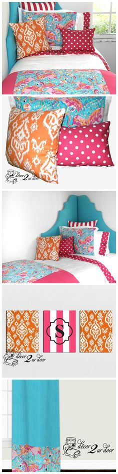 Lilly dorm room bedding. LIMITED QUANTITIES. Order today to secure your Lilly bedding! Designer headboard, custom Lilly pillows, exclusive Lilly two-toned bed scarf, Lilly window panels, wall art, bed skirts, custom monogramming and more!! Preppy dorm room bedding and decor http://decor-2-ur-door.com