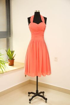 Coral halter straps short chiffon bridesmaid dress/ by MayProm