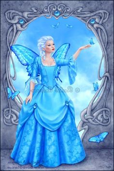 blue fairy Fairy Pictures, Angel Pictures, Woodland Creatures, Magical Creatures, Illustration Fantasy, Unicorn And Fairies, Kobold, Mermaid Fairy, Butterfly Fairy