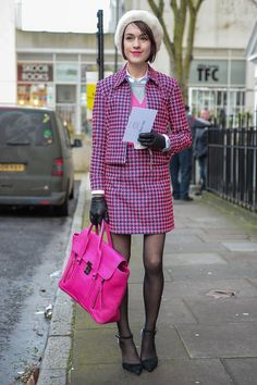 Ella Catliff updated a classic print in hot pink. Street Style at London Fashion Week #LFW