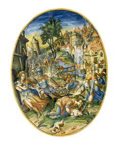 Plat ovale : Le Massacre des Innocents, Nevers, vers 1610-1620. MAD 1227. Acquis de Chatel sur les arrérages du legs Gonin, 1934. © Musée des Arts décoratifs de Lyon, Pierre Verrier