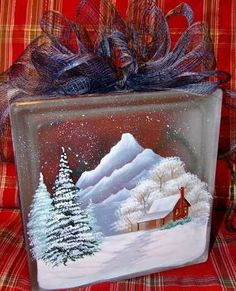 Christmas Décor . Painted Glass Block . Cabin in the Snow . source ...