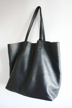 LILA Large Everyday Black Leather Tote Bag by MISHKAbags on Etsy