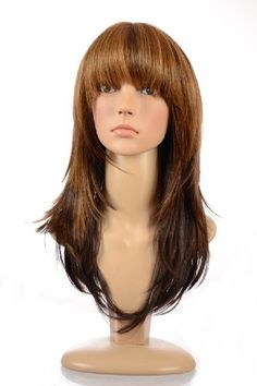 awesome  Hair By MissTresses Ombre Blonde/Brown Long Layered Face Framing Wig/ Salon Style Face Framing Feather Cut Tess wig with Full Fringe