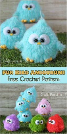 Fur Bird Amigurumi – Free Crochet Pattern   Your Crochet Crochet Birds, Crochet Animals, Crochet Motif, Crochet Flowers, Cute Crochet, Crochet Yarn, Crochet Toys Patterns, Crochet Crafts, Stuffed Toys Patterns