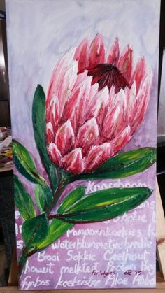 Painting of protea flower, oil on canvas by Carina Turck-Clark, entitled ' I lov. Painting of prot Protea Art, Protea Flower, Botanical Flowers, Botanical Art, Stella Art, Oil On Canvas, Canvas Art, South African Art, Beginner Painting