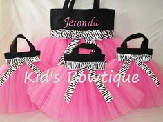Kids Bowtique has designed tutu bags perfect as: Birthday party favor bags, party decorations, balloon weights, party centerpieces, etc. Our unique party favor tutu bags are made of black canvas for durability, tulle tutu for uniqueness and zebra print trim for dazzle. Each party favor