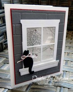 Winter Window Kitty by Wendy Lee, #creativeleeyours, Stampin' Up!, sponging technique, happy scenes stamp set, festive fireside framelits, hearth & home thinlits: