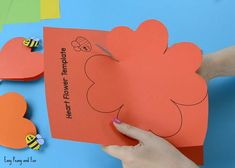 Paper Heart Flower Craft with Template