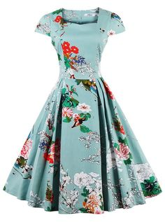 50s Light Blue Floral Print Vintage Swing Party Dress