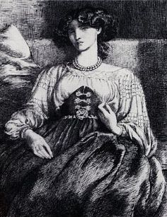 "Dante Gabriel Rossetti (1828-1882) : "" Mrs. William Morris"" , 1873 ,  pen and ink 36,1x28,5 cm , private collection Michael Maclagan"