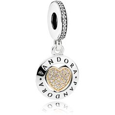 Pandora Sterling Silver, 14K Gold & Crystal Signature Heart Charm ($80) ❤ liked on Polyvore featuring jewelry, pendants, gold charms, sterling silver heart charm, gold jewelry, 14k charms and sterling silver charms
