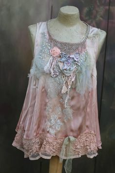 Shell pink top bohemian shabby chic top embroidered and