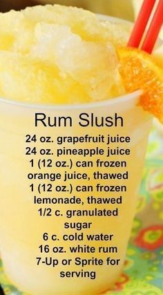Rum Slush Refreshing citrus taste and super-cool slushiness. - Sprite - Ideas of Sprite - Rum Slush Refreshing citrus taste and super-cool slushiness. Liquor Drinks, Cocktail Drinks, Cocktail Recipes, Margarita Recipes, Summer Cocktails, Bourbon Drinks, Drinks With Rum, Food And Drinks, Rum Mixed Drinks