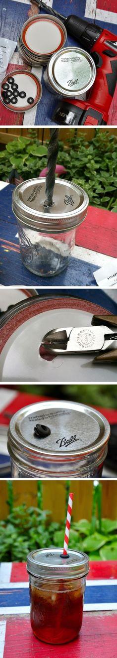 DIY Spill Proof Mason Jar Cups DIY Projects