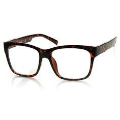 Large Retro Clear Lens Nerd Hipster Wayfarer Glasses 8789