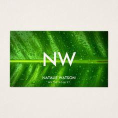 wet green leaf monogram business card