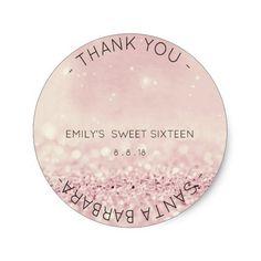 Sweet Sixteen Diamond Pink Rose Sparkly Glitter Round Sticker