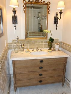 bathroom interior in classic design presenting classical splendor traditional powder room decor among wooden vanity. Interior Design Ideas. Home Design Ideas