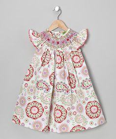 Another great find on #zulily! Pink Paisley Smocked Angel-Sleeve Dress - Infant, Toddler & Girls by Stellybelly #zulilyfinds