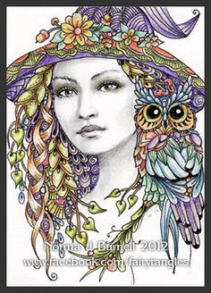 Witches & Owl Purple Hat by Norma J Burnell