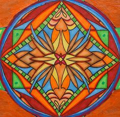 Original Art Nouveau Mandala Art Orange Bee Mixed Media Mandala Painting. $50.00, via Etsy.