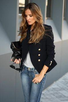 Casual Chic For Spring - Light jeans, navy blazer, gray shirt, black accessories. #casualchic #spring #womenswear #navyblazer