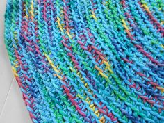 Awsome New Blue with a touch of Spring Green, Yellow and Clay and a dash of dark blue.  www.KaysKoolKrochet.Etsy.com
