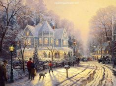 Thomas Kinkade A Holiday Gathering painting in my site, painting Authorized official website