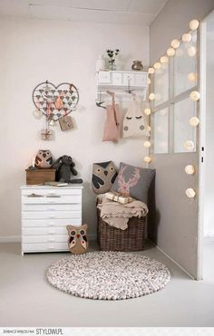 Kids room. I love the little lights around the window