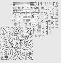 Cubrecama realizado con grannys cuadrados grandes tejidos al crochet - con explicación paso a paso y moldes | Crochet y Dos agujas
